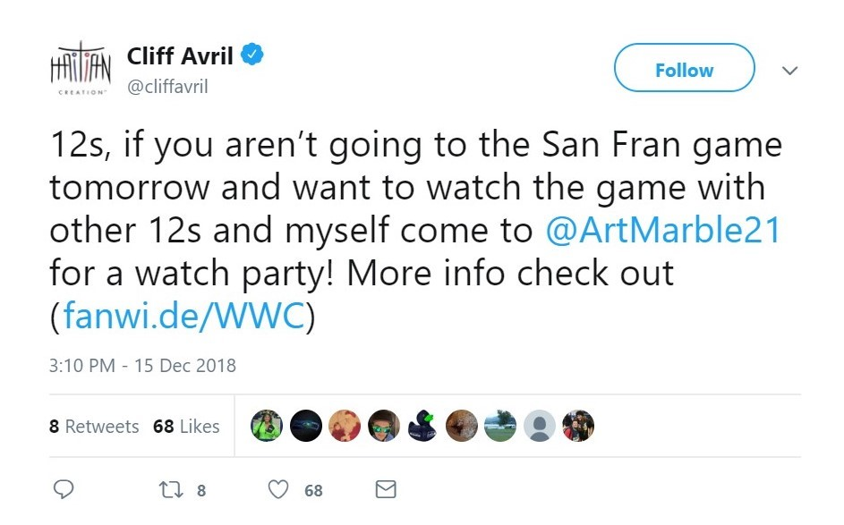 Cliff Avril's tweet about event