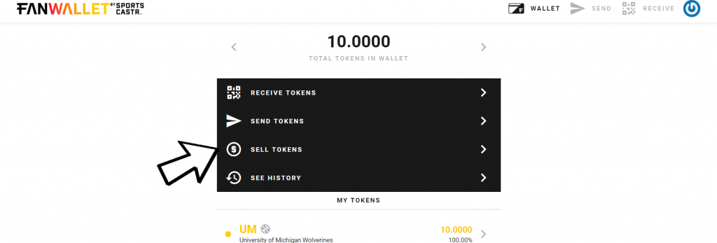 Sell Tokens on FanWallet